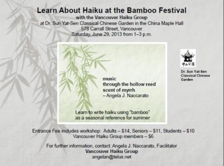 Bamboo haiku workshop